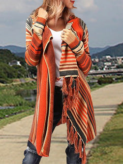 Orange Shawl Collar Casual Outerwear