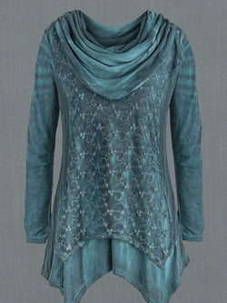 Light Blue Cowl Neck Long Sleeve Casual Printed Shirts & Tops