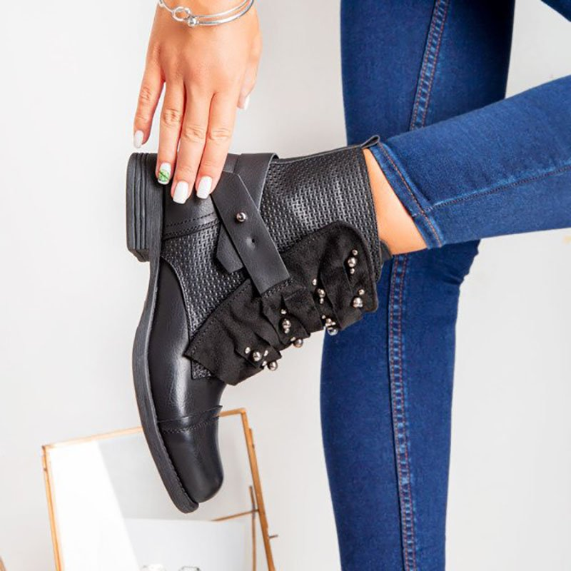 Women Casual Leather Low Heel Adjustable Buckle Boots