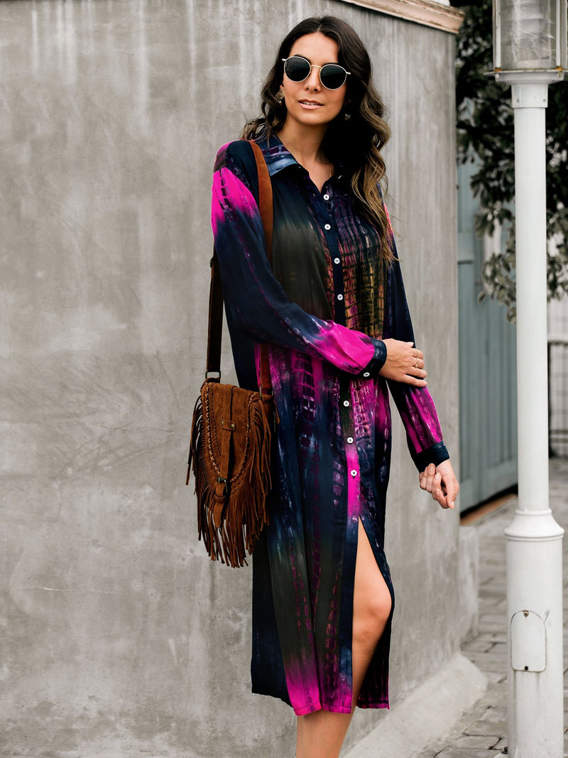 Women Long Sleeve Ombre/tie-Dye Buttoned Dresses