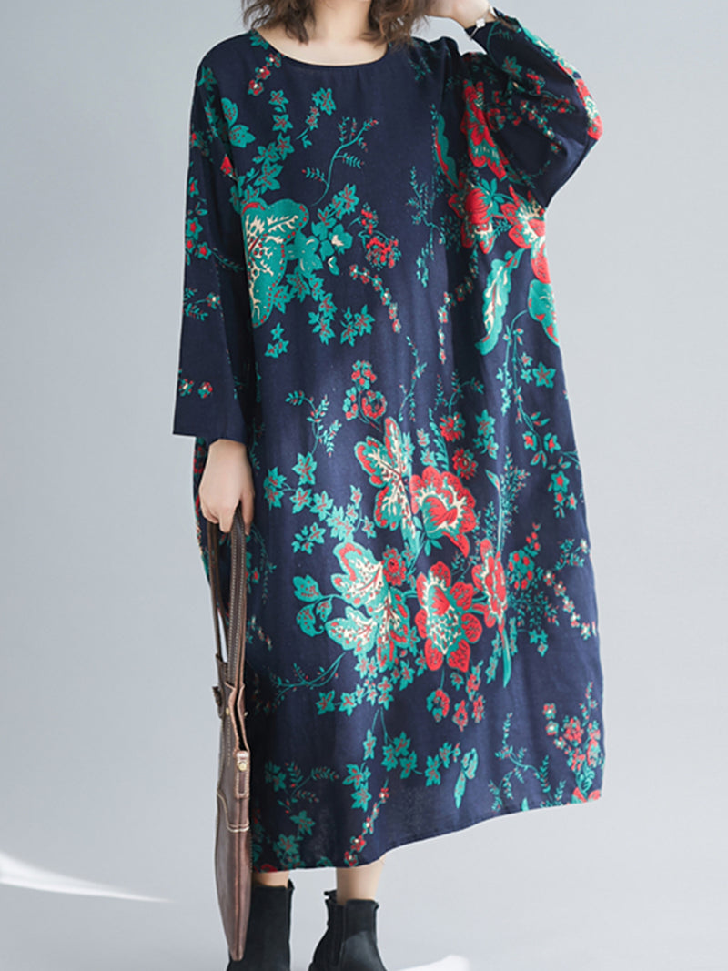 Plus size printed cotton and linen dress