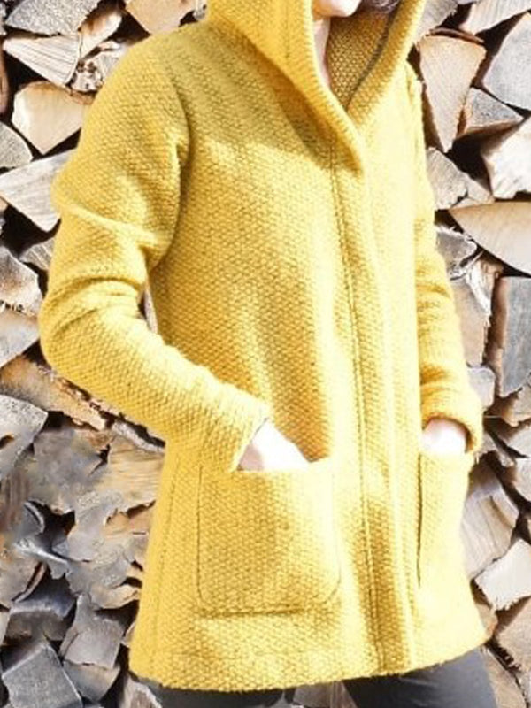 Yellow Hoodie Casual Outerwear
