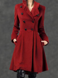 Red Long Sleeve Plain Outerwear