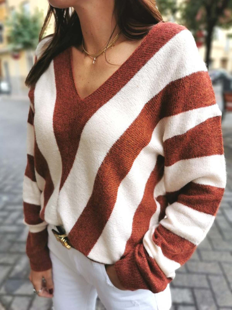Striped V neck  Knitted Long Sleeve Sweater