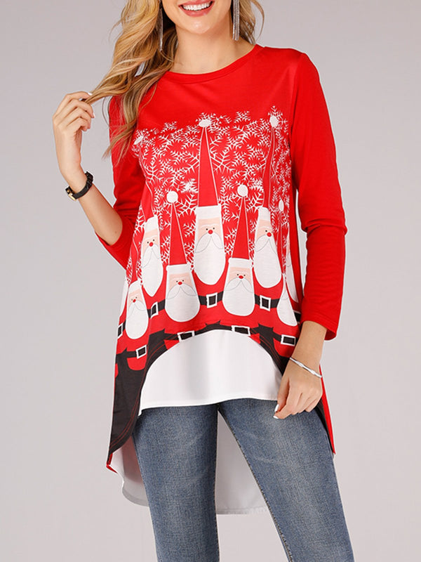 Red Cotton Long Sleeve Shirts & Tops