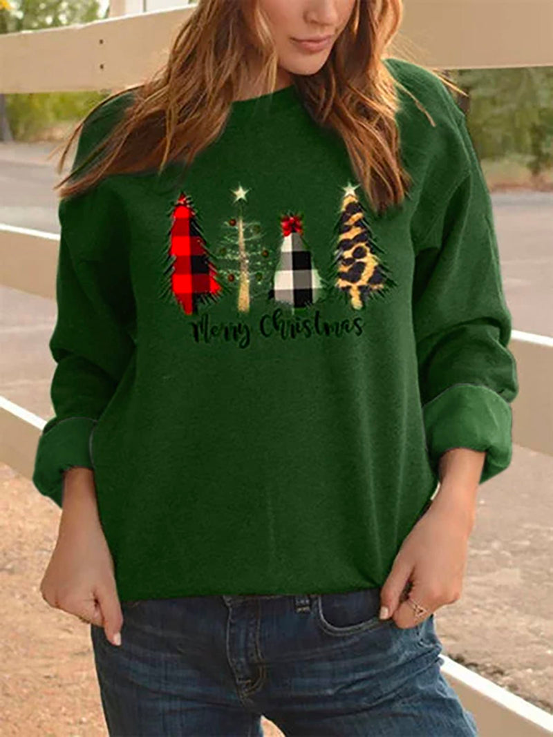 Woman Plus Size Christmas Casual Crew Neck Shift Shirts & Tops