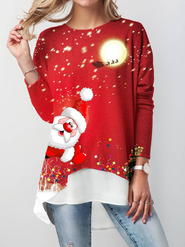 Christmas Long Sleeve Crew Neck Cotton-Blend Shirts Blouses