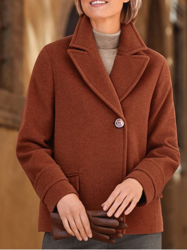 Brown Casual Pockets Cotton-Blend Outerwear