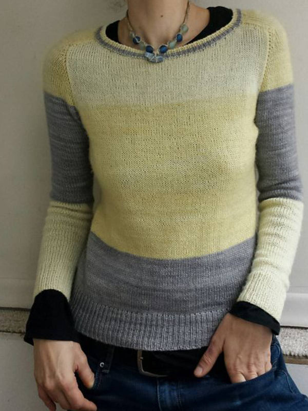 Yellow Casual Cotton-Blend Stripes Sweater