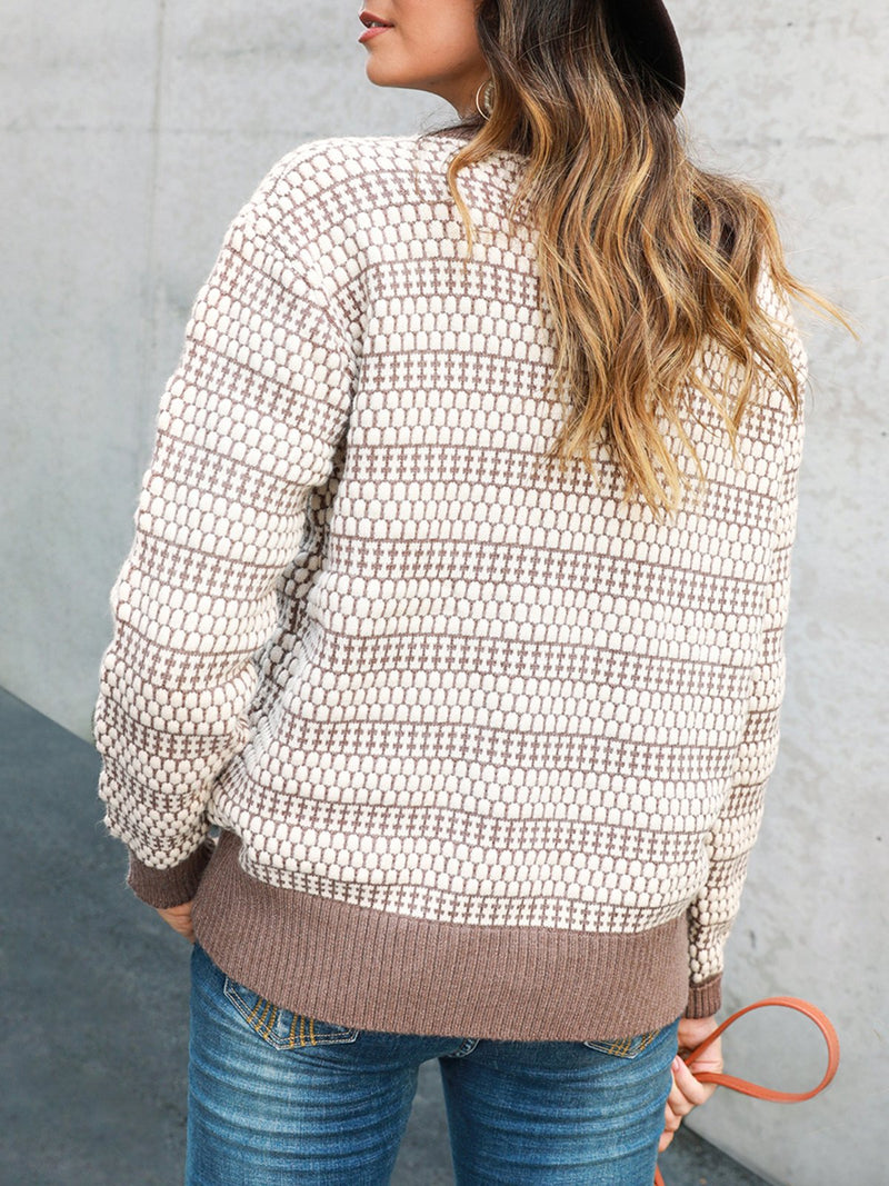 Knitted Shift Sweet V Neck Sweater