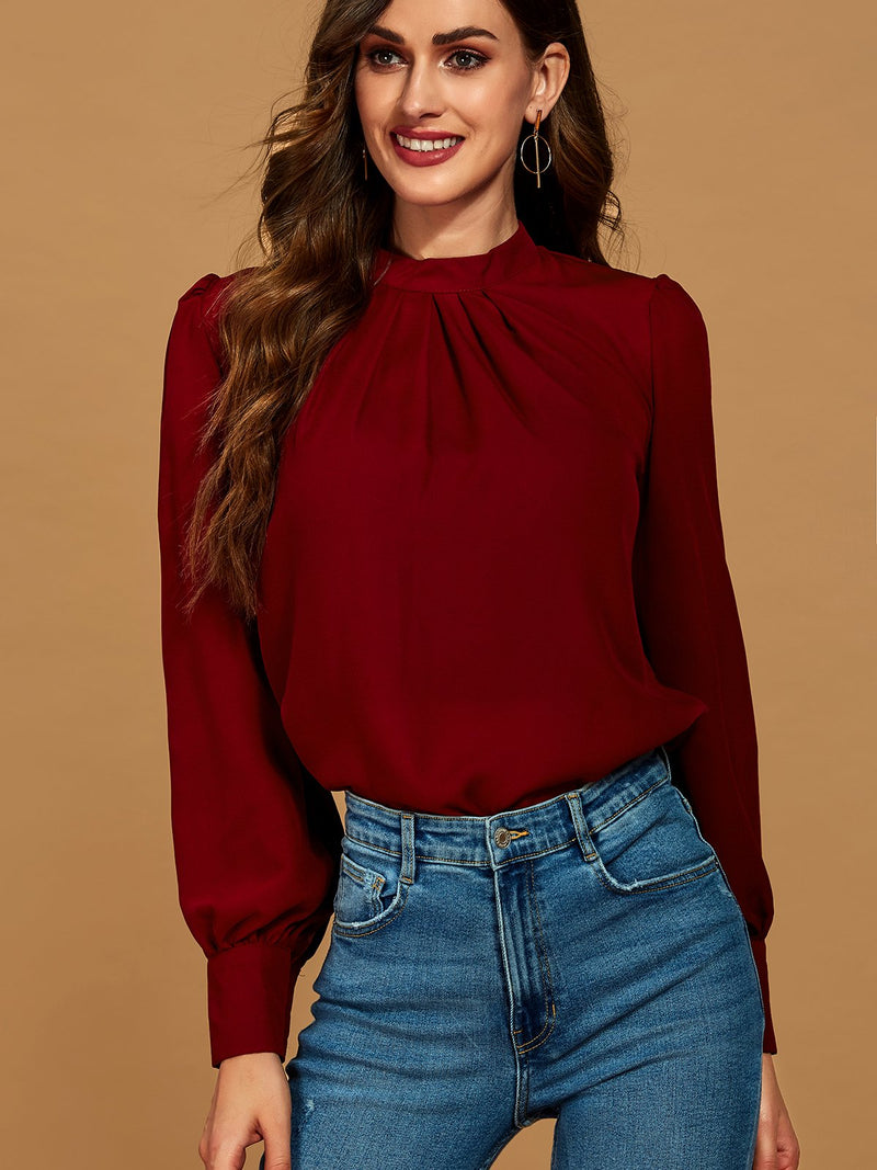 Wine Red O-Neck Cotton Long Sleeve Solid Shirts & Tops