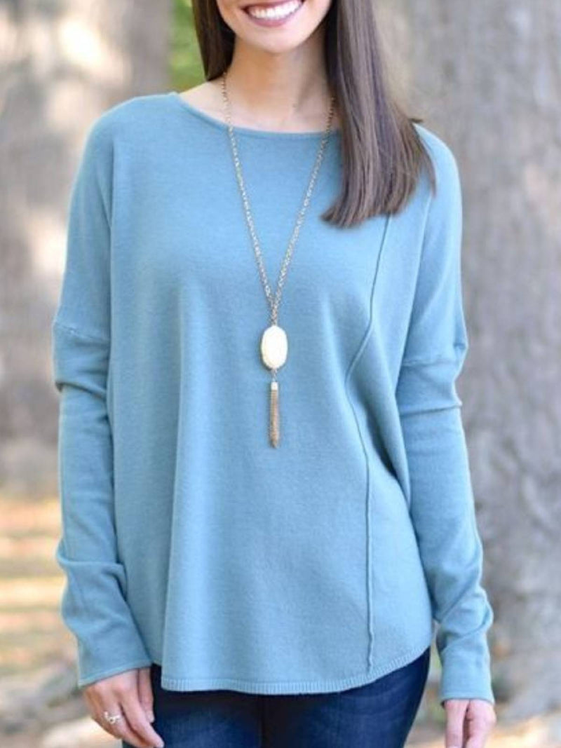 Blue Plain Long Sleeve Crew Neck Casual Shirts & Tops