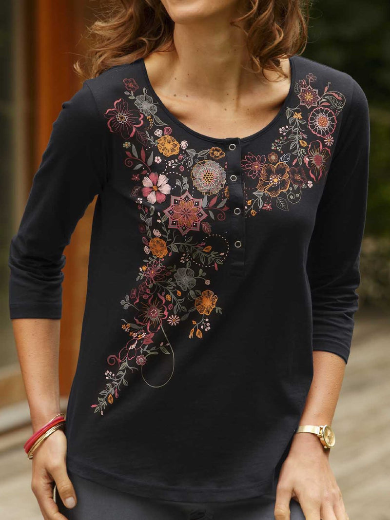Black Round Neck Cotton-Blend Printed Shirts