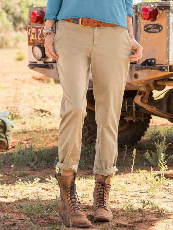 Khaki Casual Cotton-Blend Pants