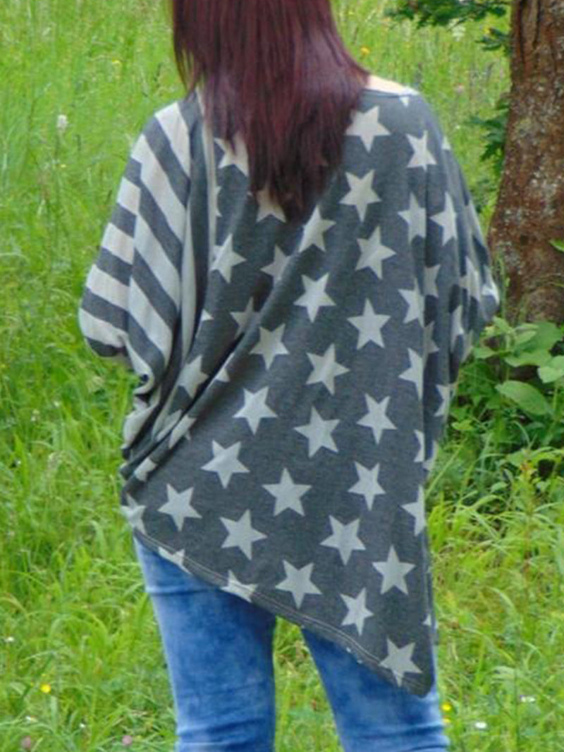 Plus Size Striped Crew Neck Star Long Sleeve Casual Tops