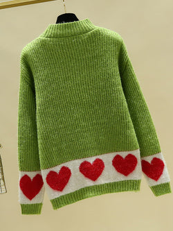 Plus size round neck love stitching sweater sweater Casual Sweater