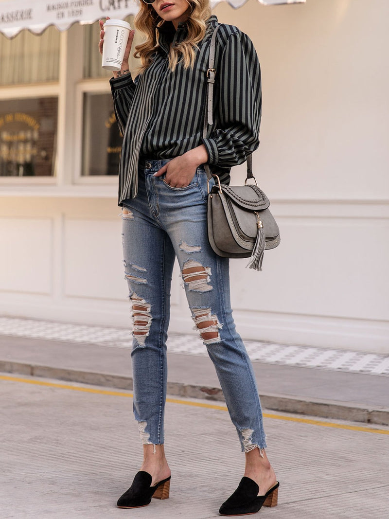 Women Striped Balloon Sleeve Buttoned Casual Shirts & Tops