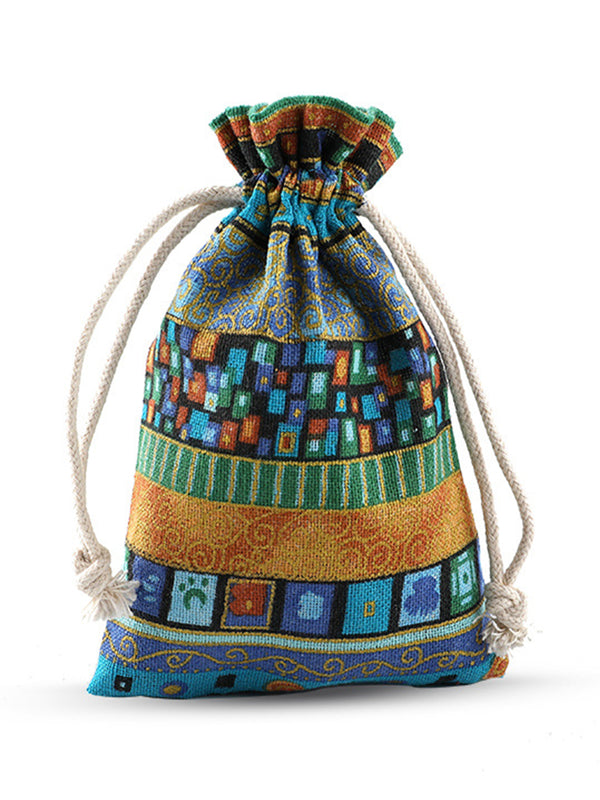 Handmade Vintage Boho Printed Jewelry Packaging Storage Drawstring Small Bag