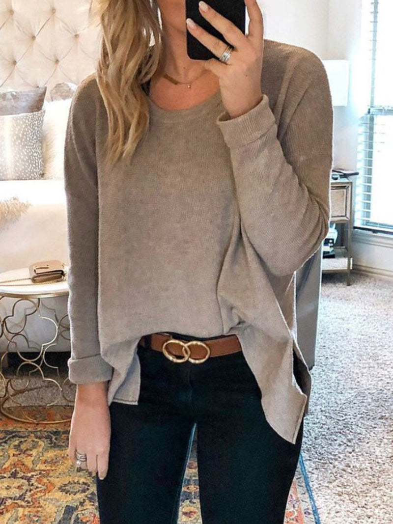 Casual Long Sleeve Solid Round Neck Shirts