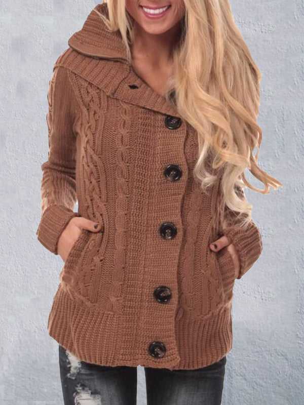 Rust Acrylic Long Sleeve Knitted Plus Size Outerwear