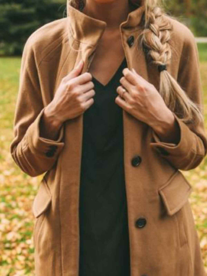 Khaki Casual Plain Stand Collar Outerwear