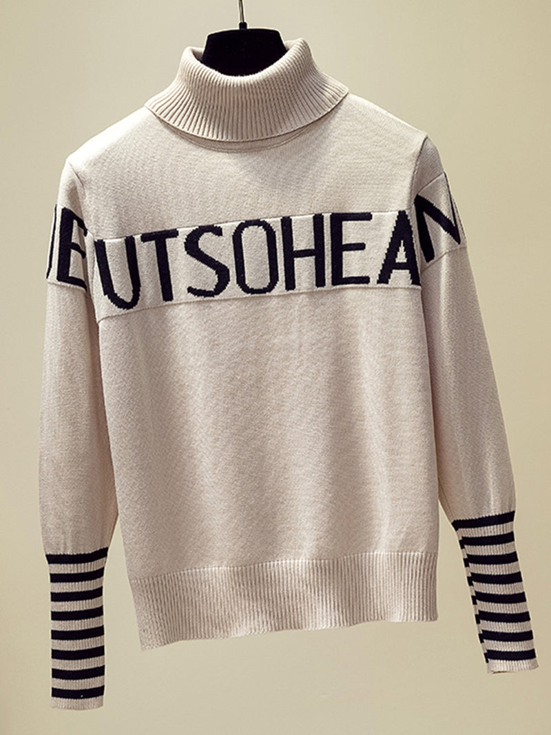 Plus size turtleneck sweater female loose letter striped knit bottoming shirt top Casual Sweater