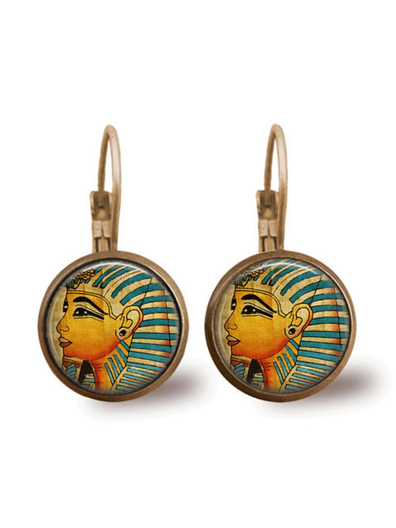 Vintage Ceramic Egyptian Queen Earrings