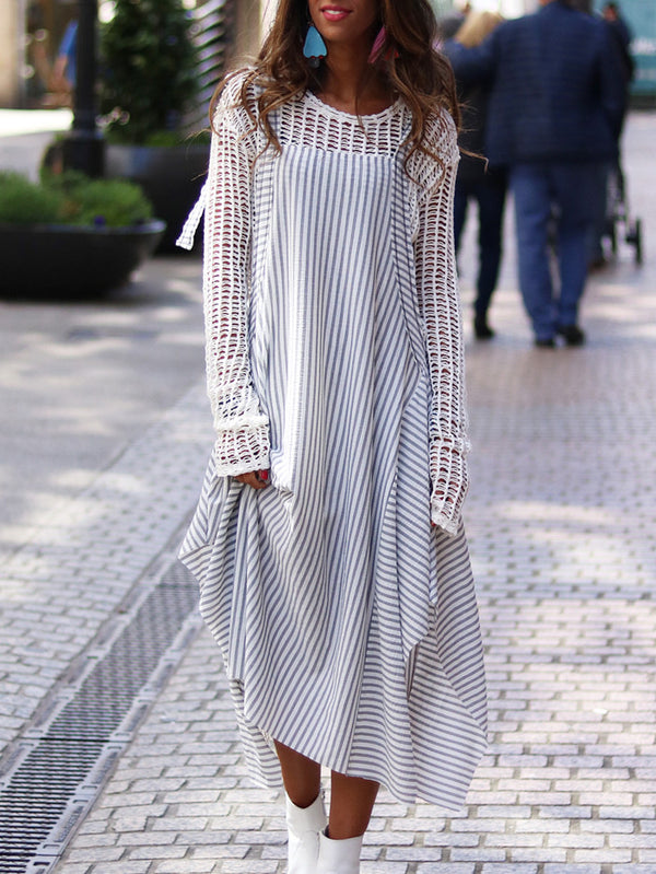 Striped Round Neck Cotton-Blend Long Sleeve Dresses
