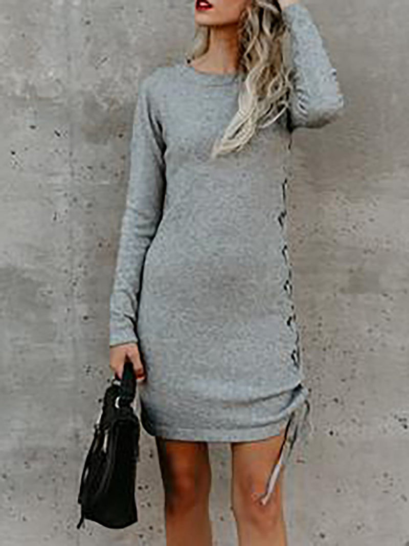 Sheath Solid Crew Neck Casual Fall Dress