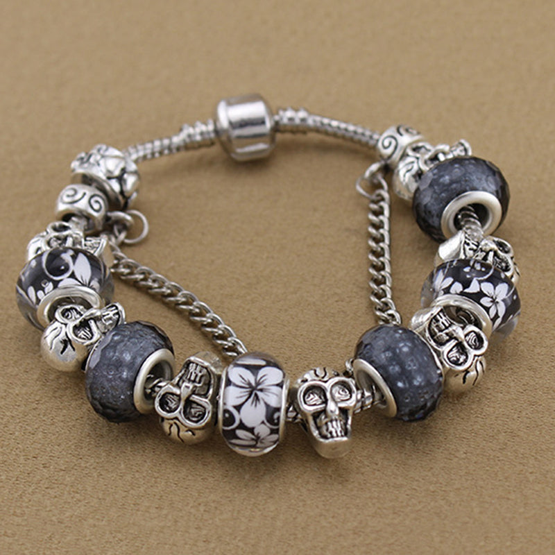 Personality Brown Glass Bead Skull DIY Bracelet