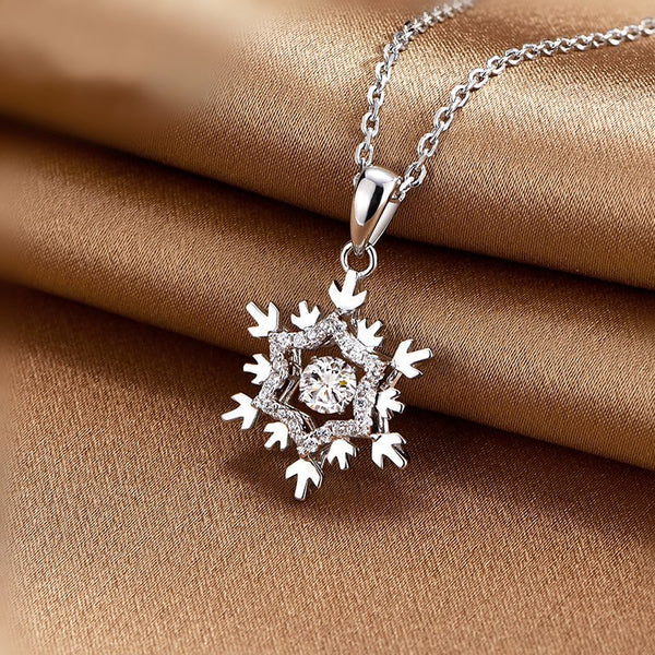 """Beating Heart"" Snowflake Necklace"