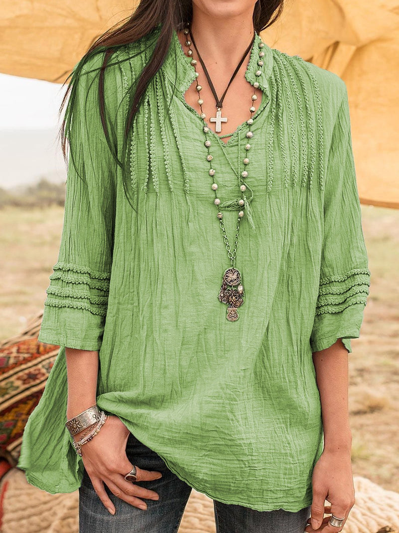 Boho Stand Collar Linen 3/4 Sleeve Guipure Lace Shirts & Blouses