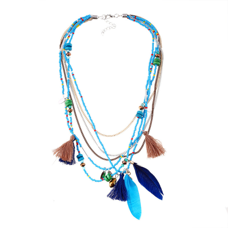 Handmade Bohemian Beaded Feather Necklace