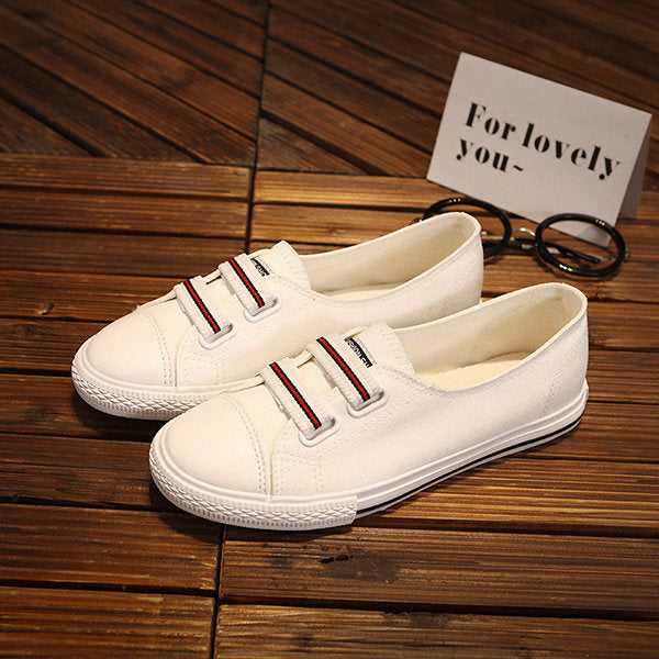 Women's Round Toe Hook Loop Stripe Slip-On Flats
