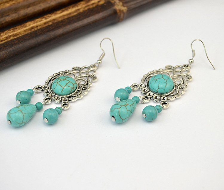 Bohemian turquoise long drop hollow earrings