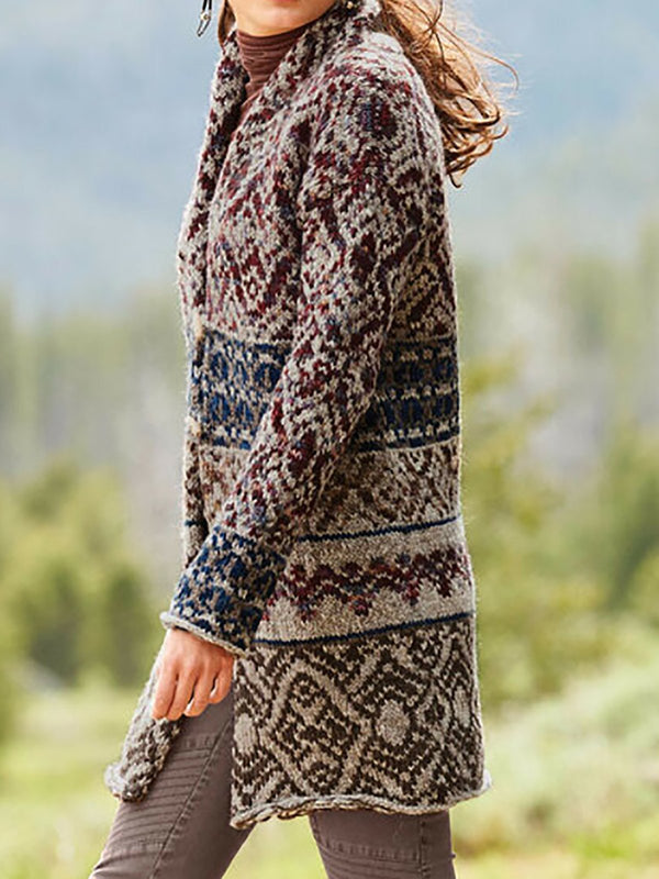 Retro patterned sweater coat