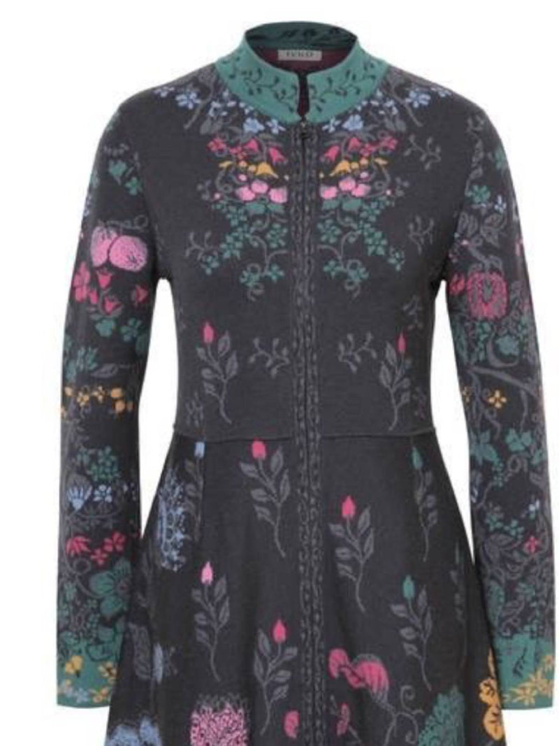 Black Floral Long Sleeve Cotton-Blend Stand Collar Outerwear