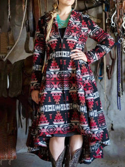 Red Geometric Long Sleeve Cotton-Blend Dresses