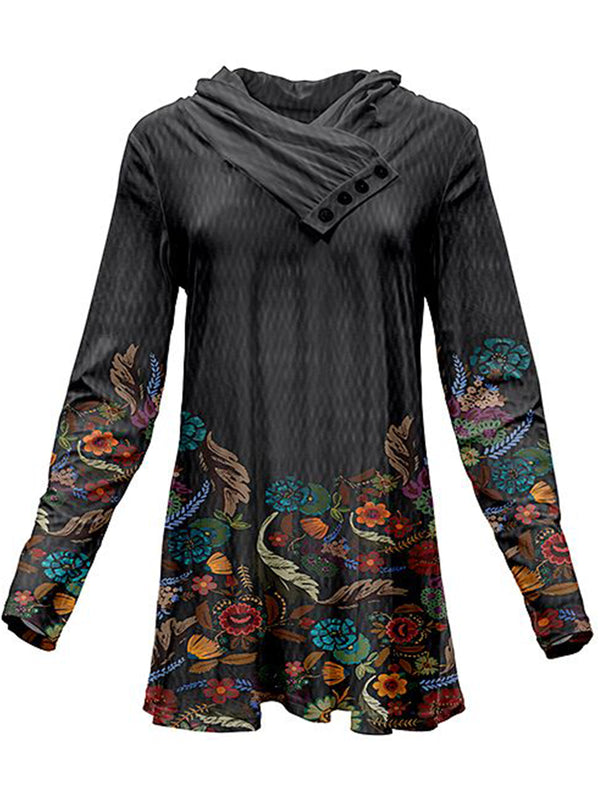 Plus Size Casual Floral Cowl Neck Tops