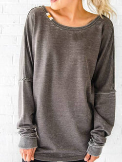 Black-Grey Round Neck Casual Cotton-Blend Shirts & Tops