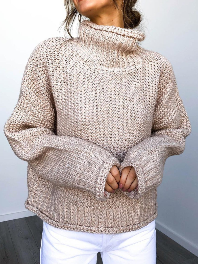 Plus Size Casual Turtleneck Solid Long Sleeve Sweater