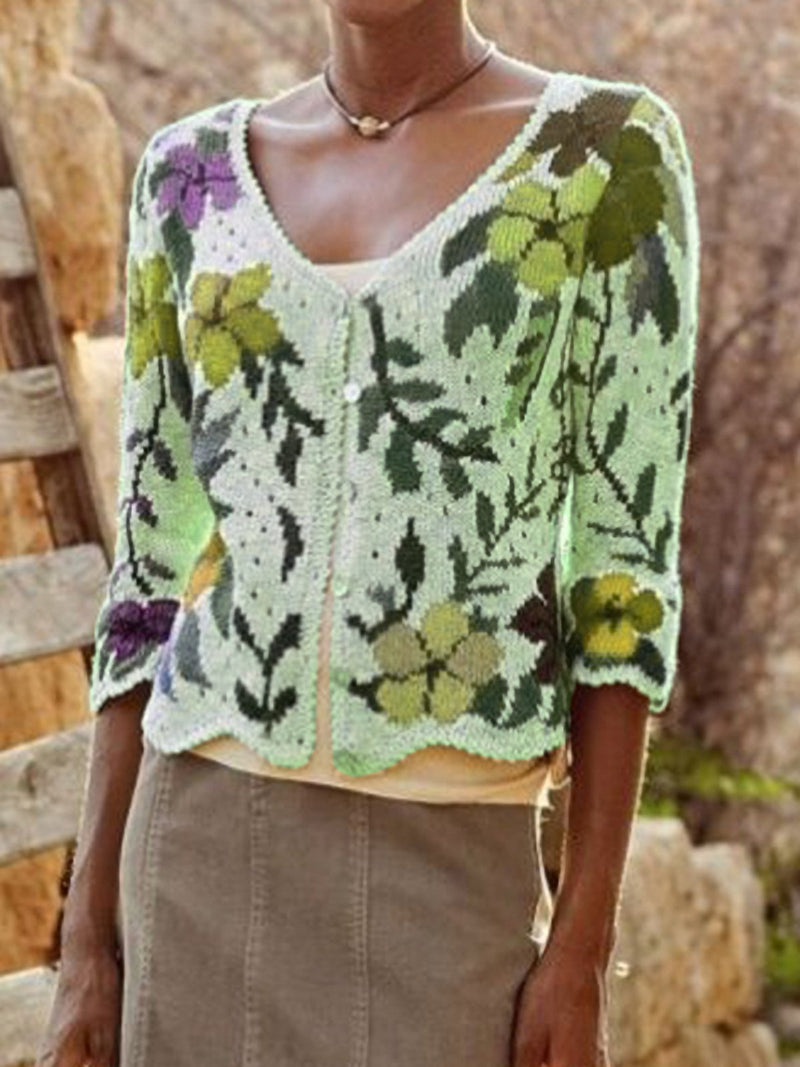 Shift Knitted Floral Casual Sweater