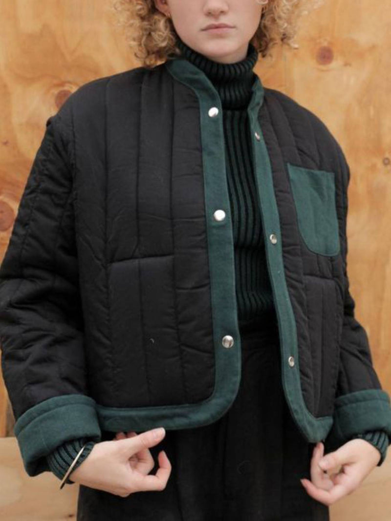 Black Plain Cocoon Casual Cotton-Blend Outerwear