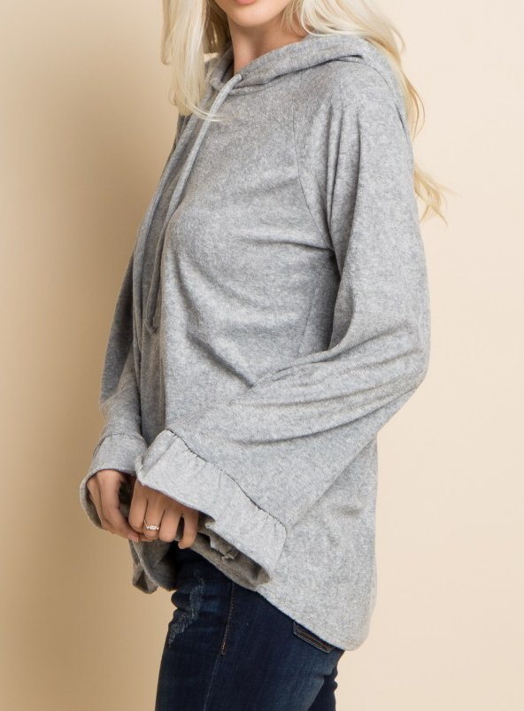 Plus Size Casual Solid Hoodie Long Sleeve Tops