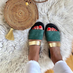 Women's Casual Color Stitching Flat Slippers