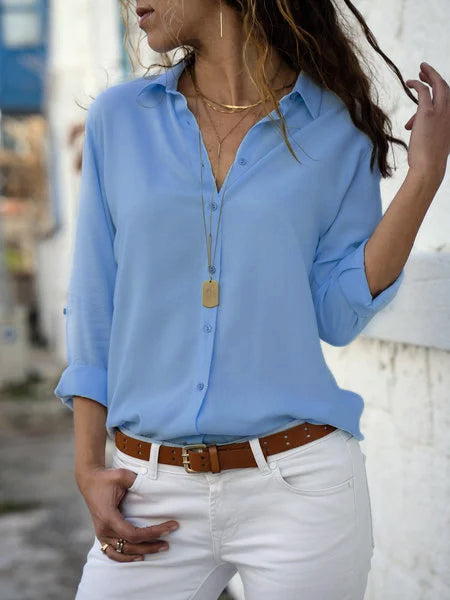 Casual Buttoned Long Sleeve Solid V-Neck Blouse