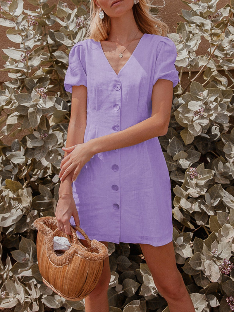 Casual Linen V Neck Dresses