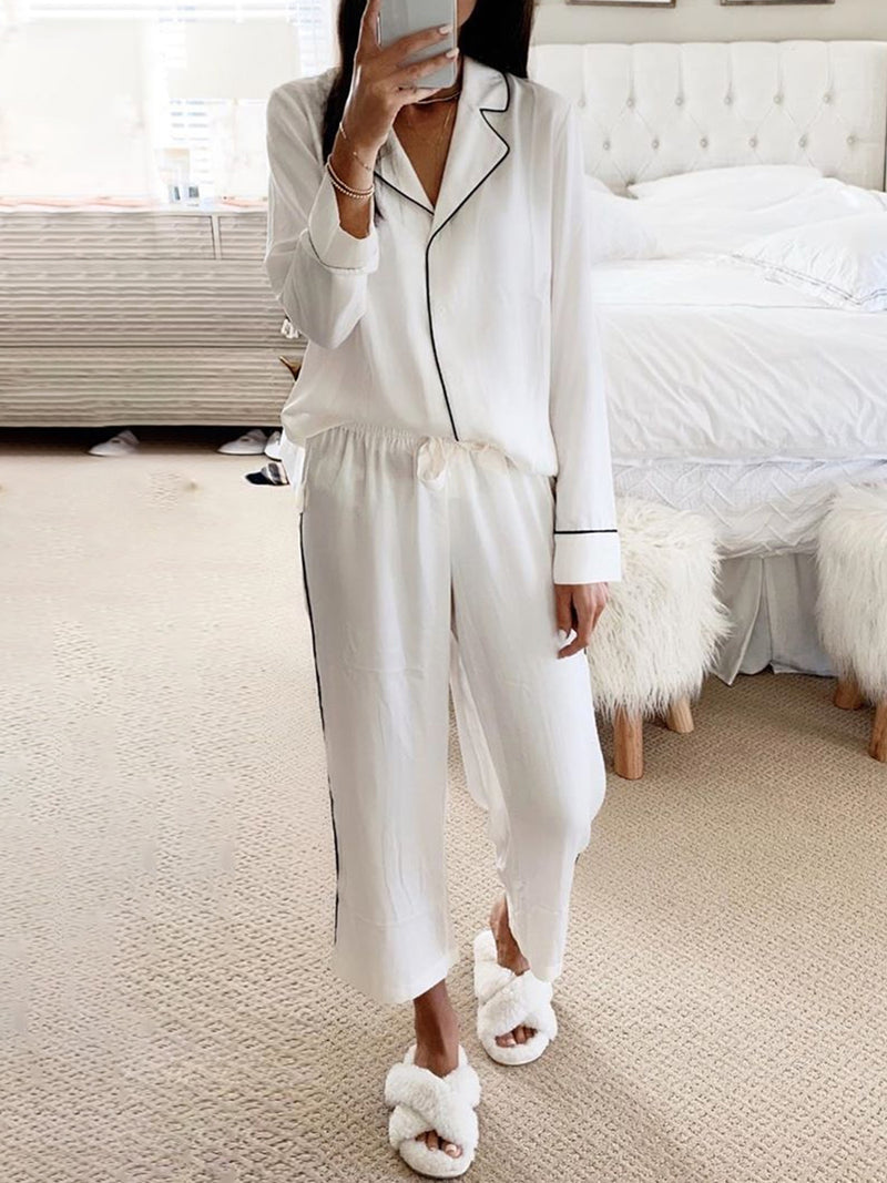 Plus Size Plain Long Sleeve Casual Suits