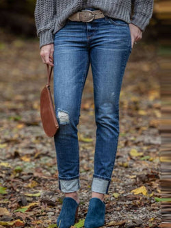 Blue Casual Denim Plain Pants