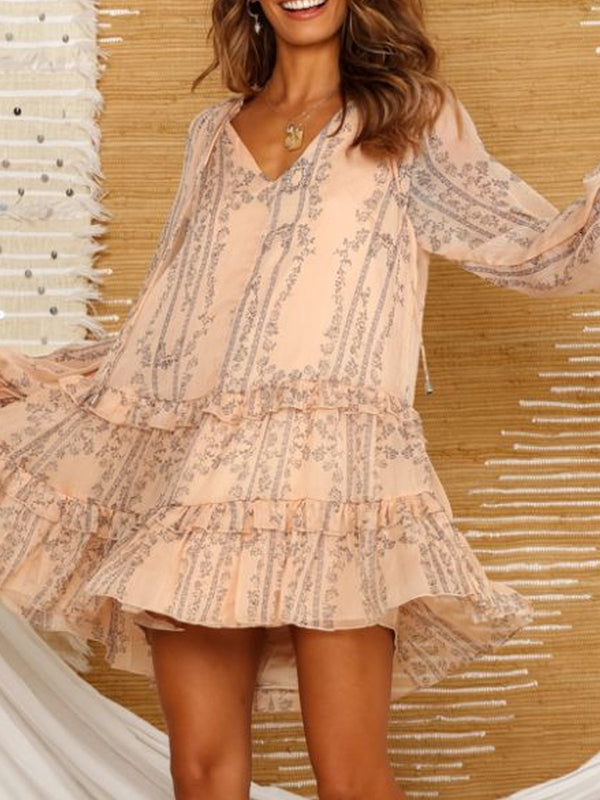 Light Pink Holiday Ruffled Dresses
